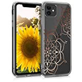 kwmobile Hülle kompatibel mit Apple iPhone 11 - Handyhülle - Handy Hülle Blumen Zwillinge Rosegold Transparent