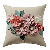 Best Flower Pillows - JWH 3D Flowers Accent Pillow Case Solid Suede Review