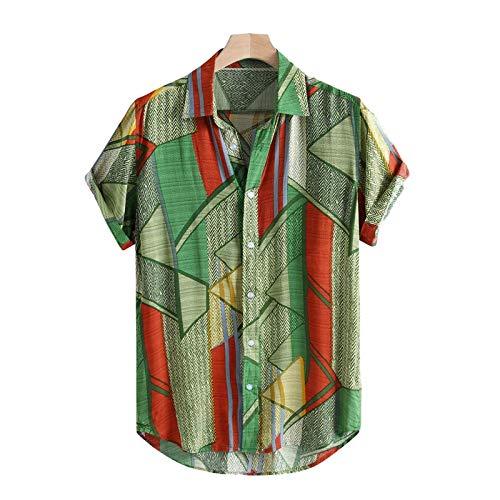 Camisas de Vestir para Hombre Camisa Estampada Funky de Manga Corta, Tops Florales Elegantes Camisa Casual geométrica a Rayas de Verano con patrón único 3XL