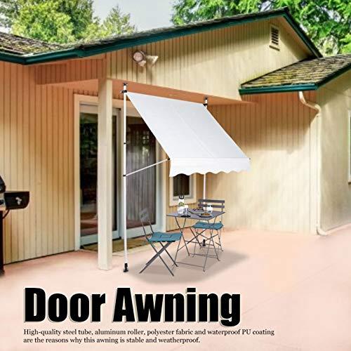 Emoshayoga Toldo de Puerta Manual 1.5x1.2M Toldo de jardín para Uso en casa de jardín en Patio(Beige, White)