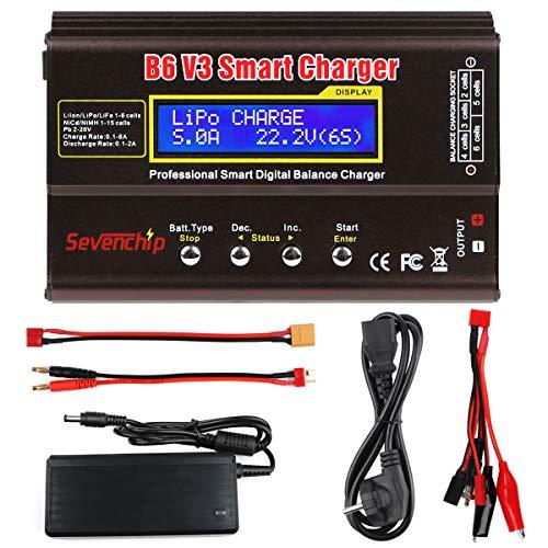 FancyWhoop B6 V3 Lipo Batterieladegerät 80W 6A RC Batterie Bilanzentlader für LiPo Li-Ionen-Lebensdauer NiCd NiMH LiHV PB Rc Hobby Batteriebilanzladegerät mit Netzteil
