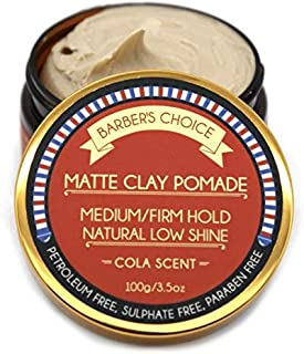 Barber's Choice Matte Clay Pomade - Cola Scent – Medium/Firm Hold Natural Low Shine Hair Pomade for Men - All Natural Ingredients Nourish and Condition Hair (3.5oz)