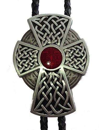 Ivory Falcon Western Bolo Tie, Celtic Cross Crucifix Bolo Tie