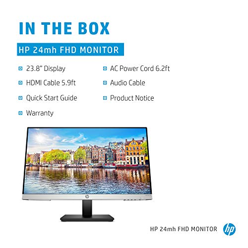 HP 24mh FHD Monitor - Computer Monitor with 23.8-Inch IPS Display (1080p) - Built-In Speakers and VESA Mounting - Height/Tilt Adjustment for Ergonomic Viewing - HDMI and DisplayPort - (1D0J9AA#ABA)