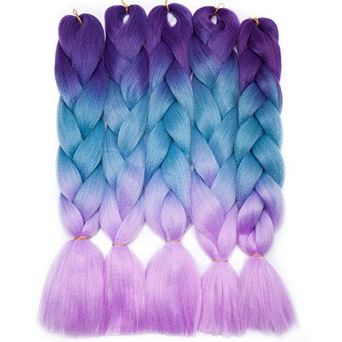 Silk-co 5 pcs Extensiones Trenzas Africanas de pelo sintético Sin olor Resistente al Calor Sudor Braiding Twist Crochet Hair 60cm #Púrpura-Luz Azul-Púrpura