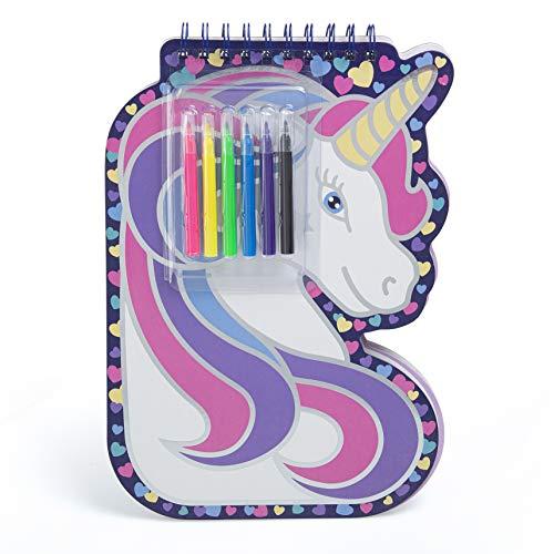 Bloc de dibujo de unicornio, 50 hojas con 6 rotuladores y una hoja de pegatinas de unicornio