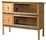 dobar 23024FSC Doppelstöckiger Kleintierstall groß aus FSC-Holz XL, auf 2 Etagen mit Außentreppe, 118.5 x 44.5 x 102.5 cm