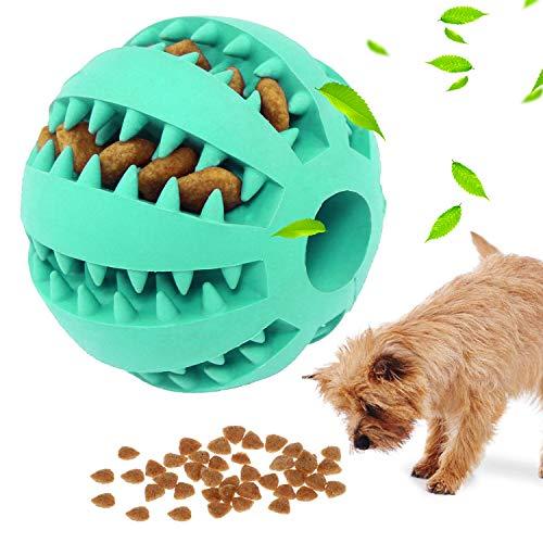 Hundespielzeug Ball , Jkevow Hundespielzeugball Pet Welpe Intelligenz Ball Ungiftig Bissbeständig, Hundeleckerli Treat Feeder Zahnpflege Kauzahnreinigungsball (Blau, 5cm)