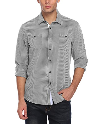 COOFANDY Men's Wrinkle-Free Classic Vertical Striped Long Sleeve Business Dress Shirts Grey