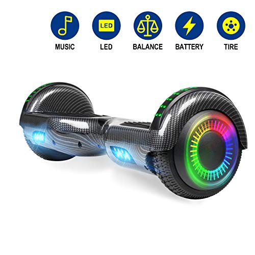 YHR 6.5 Inch Hoverboard with Bluetooth W/Speaker, LED Wheels and LED Lights for Kids and Adult
