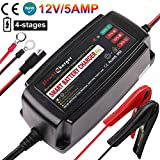 12V 5A Trickle Battery Charger, Battery Maintainer for Car, Automobile, Motorcycle, Lawnmower, Marine, Boat, ATV, RV, UTV, Ride-on Toy, SLA GEL VRLA Wet AGM Sealed Lead Acid Battery Charger