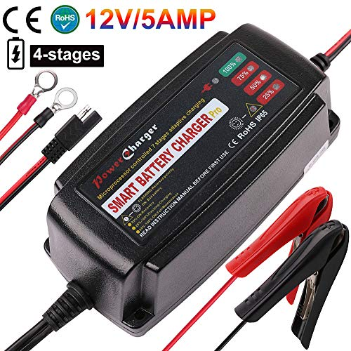 Buy Discount 12V 5A Trickle Battery Charger, Battery Maintainer for Car, Automobile, Motorcycle, Law...