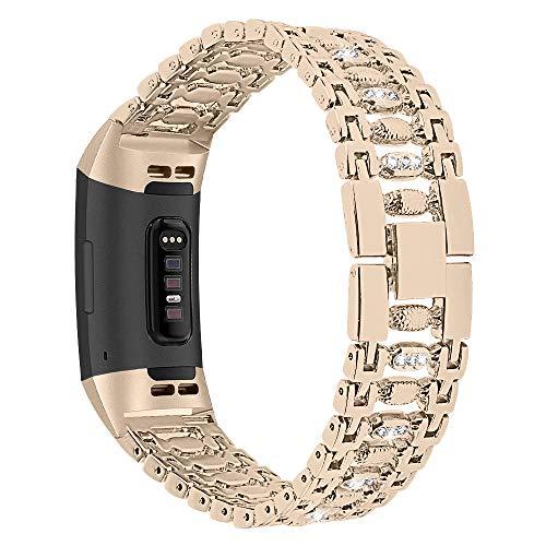 XIALEY Correa para Fitbit Charge 3 / Fitbit Charge 4 Pulseras De Joyería Banda De Reloj De Metal De Acero Inoxidable Pulseras De Diamantes De Imitación para Fitbit Charge 3 / Charge 4,Vintage