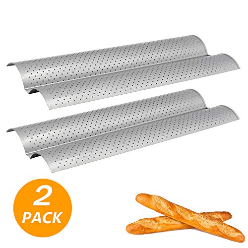 FireKylin French Bread Baking Pan, 2 Pack Nonstick Perforated Baguette Mold 2 Wave Loaves Loaf Bake Toast Cooking Bakers Molding
