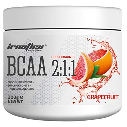 Iron Flex BCAA 2-1-1-1 Pack - Branched Chain Amino Acids in Powder - Muscle Regeneration - Anticatabolic (Grapefruit, 200g)