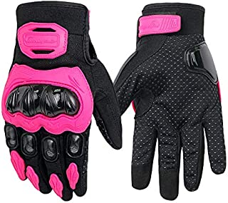 DragonPad Motorcycle Gloves, Unisex Summer Breathable Motor Riding Protective Gear Non-Slip Touch Screen Guantes Pink L