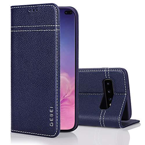 Samsung Galaxy S9 Lederen Hoes, Gebei Warship Serie Mobiele Telefoon Boek Portemonnee Clamshell Onzichtbare Magnetische Gesp Cover voor Samsung Galaxy S9, Portemonneehouder, Galaxy S10e, Blauw