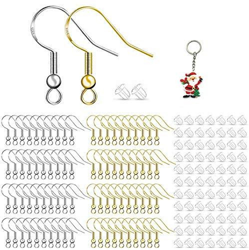 Eagool - 200 ganci per orecchini in oro e argento, con filo per orecchie, per gioielli fai da te