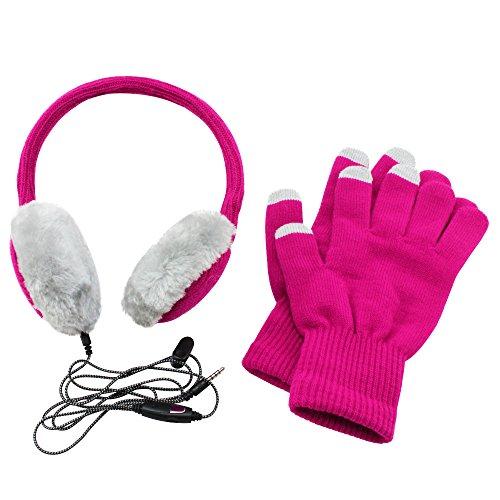 COM-FOUR® koptelefoon oorwarmers en touch handschoenen voor touchscreen bediening in de winter in roze/grijs, met microfoonaansluiting 3,5 mm jack (01 stuks)