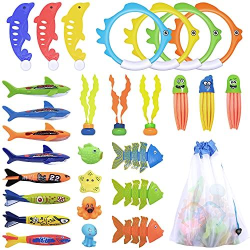 Giochi Piscina Bambini 28pcs Kits de Giocattoli Piscina Subacquea da Immersione Giocattolo Acquatico di Nuoto Set di Giochi D'acqua per Bambini