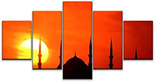 Skipvelo 5 Panels Wall Canvas Prints Pictures, Blue Mosque and The Sunset istanbuls and Pictures Wall Paintings Wall Decor Stretched and Framed Ready to Hang