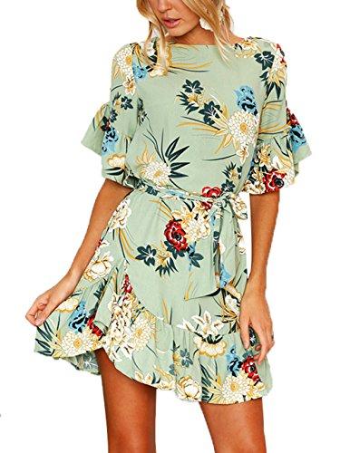 YOINS Donna Vestito Casuale Abito a Maniche Corte Floreale Vestiti Elegante da Cocktail Maniche Svasate Corto Abiti da Spiaggia Estivo Sexy Verde L/EU44