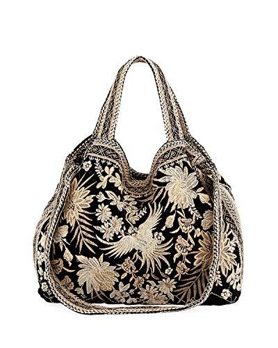 Johnny Was Othilia Black Velvet Cream White Lace Velvet Bag Handbag Purse New
