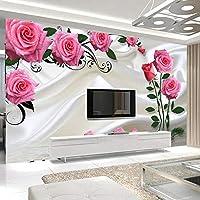 カスタム3D写真の壁紙ロマンチックなバラの花モダンなリビングルームのテレビの背景壁画ウォールステッカー-150x120cm