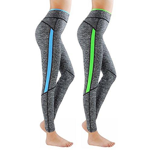 Pacchetto di 2 L&K-II Leggings Donne Pantaloni di Corsa con Inserti in Rete Fitness Yoga Pantaloncini Sportivi 4113 Verde+Blu S/M