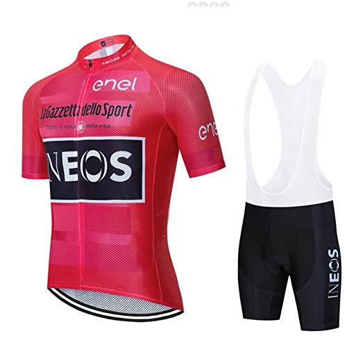Maglia Ciclismo Uomo Manica Corta, Abbigliamento Sportivo Da Ciclismo Con Pantaloni Ciclismo Salopette Asciugatura Rapida Per MTB Ciclista Completo Ciclismo Squadre (Rosa Rossa 2,M)