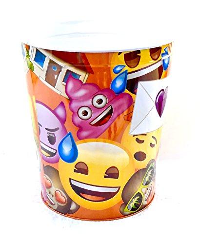 Emoji Wastebasket,Colorful Emoji's,Tin (Orange Peace Sign Emoji)