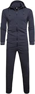 Clearance! Mens Lazy Adult Onesie One-Piece Pajamas Hooded Non-Footed Jumpsuit Solid Romper