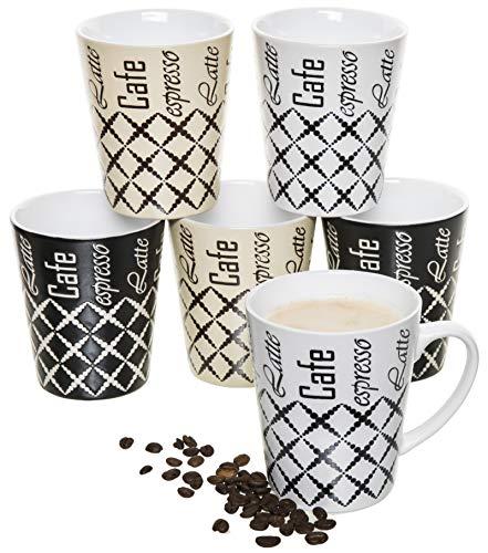 6er-Set Kaffee-Becher Keramik, je 2 St. weiß/Creme/schwarz, mit Aufdruck Aufschrift Cafe Espresso Latte und dekorativem Muster, 400 ml Kaffee-Tassen große Kaffe-Pott Mugs Coffee Time Porzellan