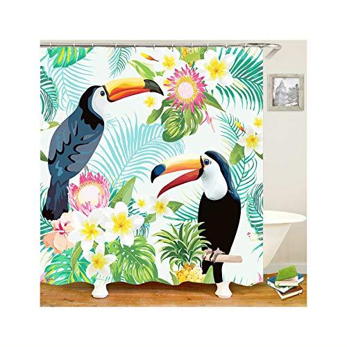 Abellale Badewanne Duschvorhang 2 Tukane Tropical Vögel Polyester Badvorhang 120x180 cm
