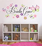 Flowers and Butterflies Personalized Custom Name Childrens Nursery Printed Vinyl Wall Decal Plus Free 12' White Hello Door Decal, Girl Name Wall Decal, Girls Name Decal, Wall Decor, Butterfly Decals