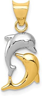 14k Yellow Gold Dolphins Pendant Charm Necklace Sea Life Dolphin Fine Jewelry Gifts For Women For Her