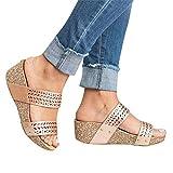 Sandalias de Cuña Zapatillas de Verano con Cordones Abiertos para Mujer Zapatillas Casuales para el Hogar(37-43)
