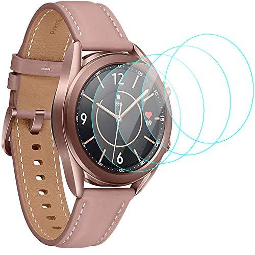 CAVN Protector de pantalla compatible con Samsung Galaxy Watch 3 41mm, [4 unidades] [dureza 9H] [cristalina] [antiarañazos] Protector de pantalla de cristal templado para Galaxy Watch 3 41mm