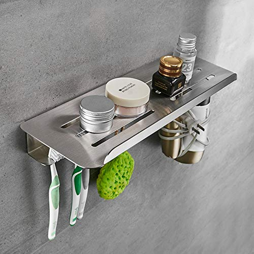 Thwarm Los estantes del cuarto de baño del acero inoxidable 304 de baño rectangular rack carrito de la ducha cosmética champú titular Basket Pared Estantes Baño Organizador de acero inoxidable formado