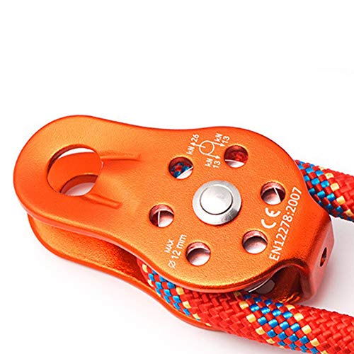 Climbing Pulley 26KN Aluminium Alloy Single Swivel Rope Pulley Heavy Duty Pulley Wheel Outdoor Ascending Devices (Orange)