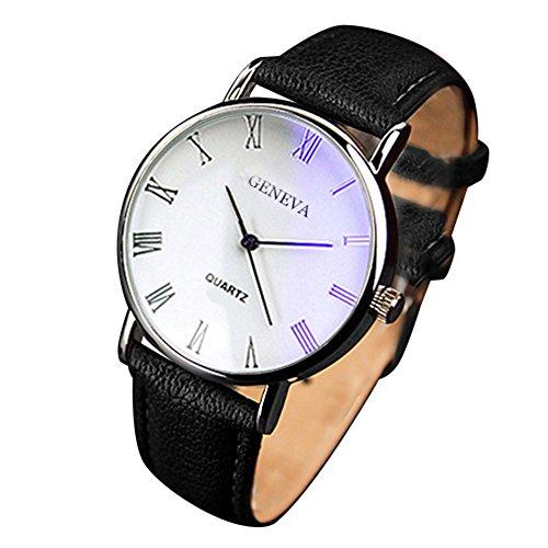Yazole - Blu-ray números romanos reloj de pulsera analógico de cuarzo banda de, funda de piel sintética, negro banda esfera blanca
