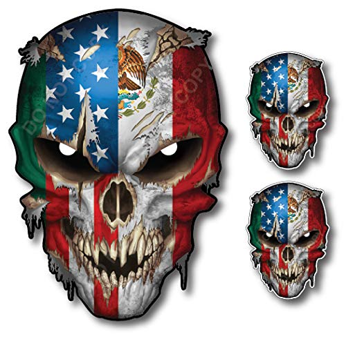 Mexico USA Flag Skull Vinyl Decal Sticker Truck Car Mexican American