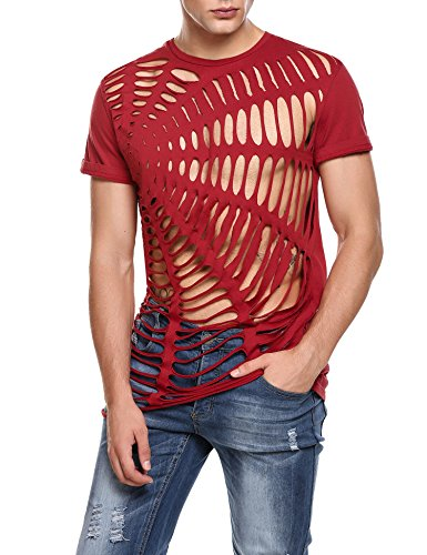 Coofandy Mens Hipster Hip Hop Gothic Clothing Crewneck Cutout Fashion T Shirt Red XX-Large Red XX-Large