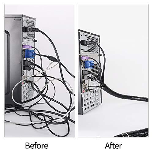 MOSOTECH Universal Kabelschlauch 2x1.5 M Flexible Kabelkanal Cord Organizer Kabelhülle Schutz-System fürTV, Computer, Heimkino-Schwarz und Grau (150x ∅28mm,150x∅22m)