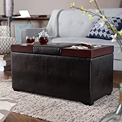 Belham Living Madison Leather Coffee Table Ottoman with Storage