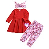 Sinhoon My First Valentine's Day Outfit Set Baby Girls Love Hearts Legging Sets Toddler Girl Long Sleeve Clothes (Love Pink, 3-4 Years)