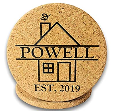 """Custom Catch Personalized Cork Trivet Gift - (2) 7"""" Hot Pads - Customizable Housewarming Trivets with Home Design for Hot Dishes, Pots, Pans, Baking Sheets, Hot Plates for Table, Countertop, Kitchen from"""