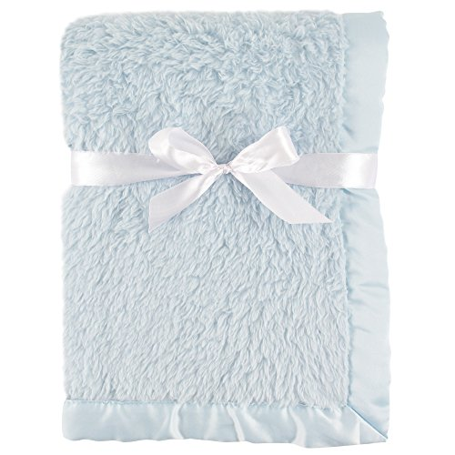 Hudson Baby Unisex Baby Sherpa Plush Blanket with Satin Binding, Powder Blue, One Size