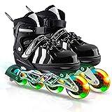 ANVAVA Adjustable Inline Skates with Light up Wheels, Fun Roller Blades for Kids, Beginner Illuminating Children's Roller Skates for Girls and Boys(Black, Small)