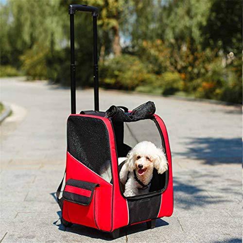 PET HOUND Transporttrolley für Hunde aus Nylon hundewagen Von der Fluggesellschaft zugelassene, vierrädrige, atmungsaktive Zugstangenbox für Tragekarren